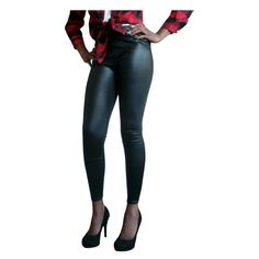 New Fashion Korean Style Lady Women's Slim Artificial Leather Skinny Pencil Leggings -Black #Affiliate