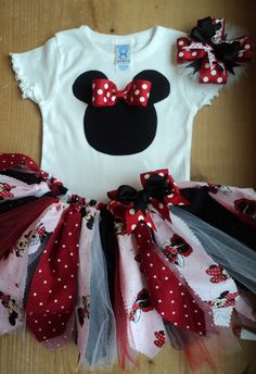 Minnie Mouse Scrap Fabric Tutu Outfit by cheerfuldianna80 on Etsy, $40.00