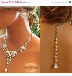 Bridal jewelry , back drop necklace,  bib necklace,  vintage necklace,  rhinestone pearl necklace, bridal statement, bridesmaid jewelry