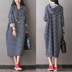 Women Cotton Loose Long Hooded Dress