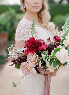 This burgundy, red and blush palette could layer a summer with romance or cozy up a fall fete with warmth. This palette works for every season. Bride Bouquets, Bridesmaid Bouquet, Berry Wedding, Wedding Flowers, Wedding Fun, Red Wedding, Wedding Photos, Wedding Ideas, Bouquet Photography