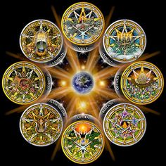 °Witch's wheel of the year featuring pentacles for each of the pagan sun & moon sabbats with a central mother earth, solstice & equinox suns.