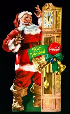 Vintage Christmas ad with the Coca-Cola Santa and grandfather clock.