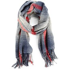 Sole Society Gradient Houndstooth Scarf (£36) ❤ liked on Polyvore featuring accessories, scarves, navy multi, navy shawl, houndstooth shawl, navy blue scarves, plaid scarves and plaid shawl