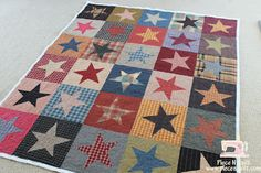 MMMMM, I love stars!  I love scrappy stars even more!  This is a darling Buggy Barn pattern made by Noel and published on www.piecenquilt.blogspot.com