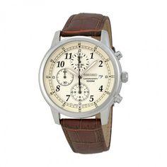Seiko Chronograph Beige Dial Brown Leather Men's Watch SNDC31