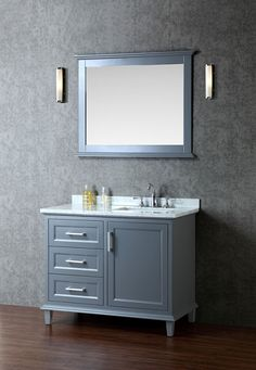 Whale Gray  Ariel Nantucket (single) 42-Inch Whale Grey Transitional Bathroom Vanity Set