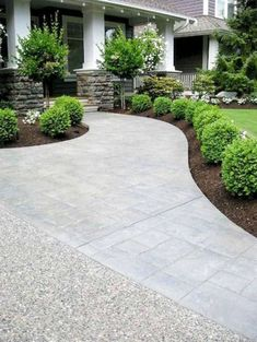 Cheap Landscaping Ideas for Front Yard You'll Fall in Love With 55 - All For Garden Cheap Landscaping Ideas, Boxwood Landscaping, Small Front Yard Landscaping, Modern Landscaping, Backyard Landscaping, Patio Ideas, Boxwood Garden, Walkway Ideas, Diy Patio
