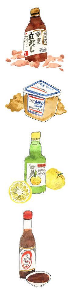 Japanese food product illustrations by Bodil Jane