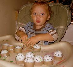 Practice Golf Balls in Toilet Paper Roll Rings - Simple, Fun Baby Play