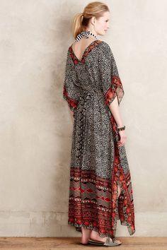 $158 Anthropologie Black Motif Karina Caftan Dress by Ranna Gill Womens XS / S…
