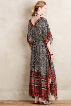 $158 Anthropologie Black Motif Karina Caftan Dress by Ranna Gill Womens XS / S…