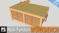 High capacity multi-function plywood workbench with cutting station and storage space