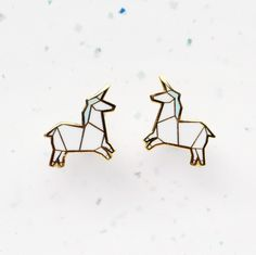 Hannah Zakari - Origami Unicorn Stud Earrings #earrings