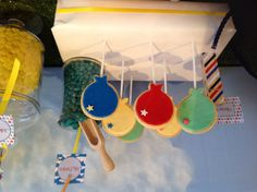 """Elijah's hot air ballon party styled by """" sweet measures"""". Balloon cookies created by """"sweet measures."""