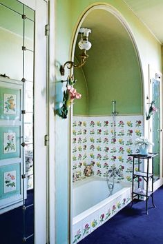 How to use the 2017 Pantone colour of the year in your interiors: An original, floral post-war bathroom in artist Jean Cocteau's French home. Photographed by Filippo Baamberghi.
