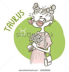 Zodiac signs Taurus. Vector illustration of the girl.