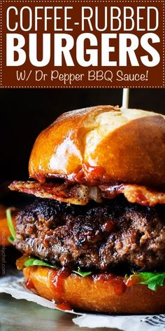 Coffee Rubbed Burgers with Dr Pepper BBQ Sauce — Not your average burger! Juicy beef burgers seasoned with a spiced coffee rub, topped with peppered bacon and a lip smacking Dr Pepper BBQ sauce! : The Chunky Chef Dr Pepper Bbq Sauce, Hamburger Recipes, Beef Recipes, Cooking Recipes, Stuffed Burger Recipes, Pepper Recipes, Gourmet Burgers, Beef Burgers, Bbq Burger