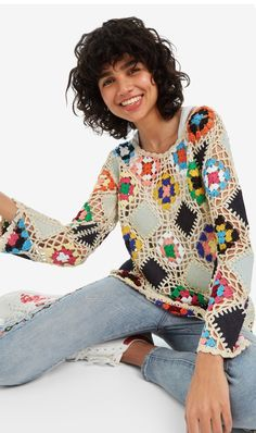 New Desigual Woman collection. Moda Crochet, Pull Crochet, Crochet Jumper, Crochet Blouse, Crochet Granny, Crochet Motif, Knit Crochet, Crochet Flower, Crochet Dress Outfits