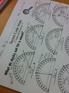Using a protractor - Practice making angles worksheet with a riddle for fun.
