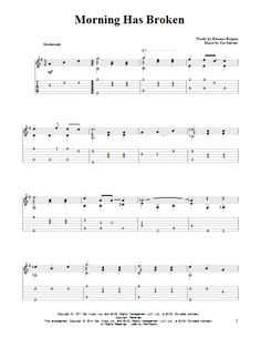 Cat Stevens: Morning Has Broken - Partition Tablature Guitare - Plus de Banjo Tabs, Guitar Tabs And Chords, Guitar Tabs Songs, Music Chords, Guitar Sheet Music, Cat Stevens, Fingerstyle Guitar Lessons, Morning Has Broken, Partition Piano