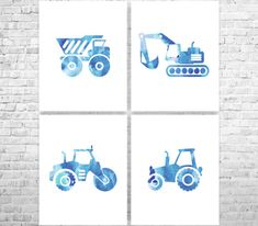Construction Trucks Nursery Art Prints Baby Boy by ANYPRINT