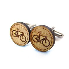 Bicycle Cufflinks  Bamboo  Wood Cufflinks  Gifts Under 25 by Cabin, $20.00