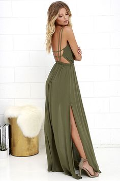 We've got an adventure dreamed up, and it starts and ends with the Lost in Paradise Olive Green Maxi Dress! A surplice bodice with a plunging V neckline meets a strappy, open back and an elastic waistband. Lightweight woven maxi skirt has sexy slits along each side.