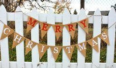 Merry Christmas Banner  Burlap Bunting Garland by FancyFlamingo, $42.00