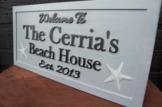 Beach House Sign Distressed Carved Sign by SmokyMountainSigns, $64.99