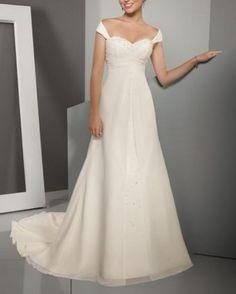 Hot sale aline cap sleeve Wedding dress chiffon by Swarovski169, $163.00