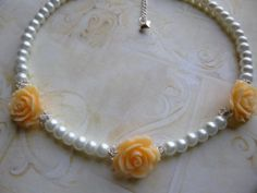 Pearl Flower Girl Necklace Rose and Pearl Flower by BuyMeBling, $14.99