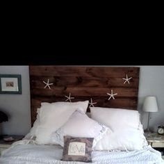 Master Bedroom Reveal - Love this headboard! Distressed Headboard, Reclaimed Wood Headboard, Formal Living Rooms, Grey Walls, Master Bedroom, Bed Pillows, New Homes, Relax, Interior