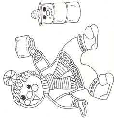 gingerbread man making snowman out of marshmallows coloring page