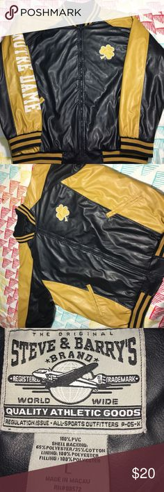 Notre Dame Fighting Irish College Leather Jacket size Large - Condition 9.5/10 steve & Barrys  Jackets & Coats