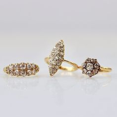diamond vintage rings in yellow gold