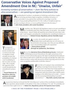 Conservative voices AGAINST NC Amendment 1