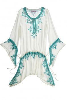 Poolside Embellished Crinkle Silk Caftan  | Calypso St. Barth
