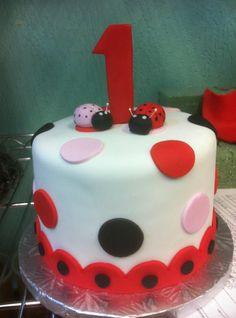 Lady Bug 1st Birthday Cake  www.sweetnessbakeshop.net  facebook.com/sweetnessbakeshop