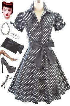 50s Style Black Polka Dot Tie Sleeve Full Skirt Rockabilly Pinup Dress with Sash | eBay