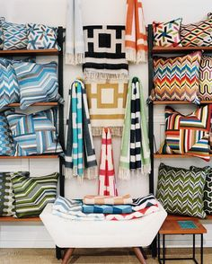 Retail Store Design - Patterned pillows and throws