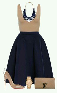Outfit elegante con falda •