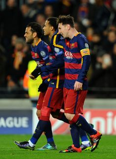 Lionel Messi of Barcelona celebrates scoring his teams fifth goal during the UEFA Champions League Group E match between FC Barcelona and AS Roma at Camp Nou on November 24, 2015 in Barcelona, Catalonia.