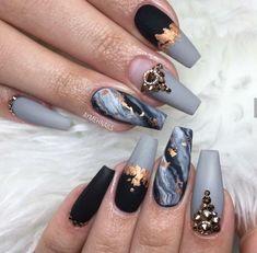25 Design de unhas de mármore com água e esmalte 2 - Simple Marble Nail ART Designs - Cute Acrylic Nail Designs, Cute Acrylic Nails, Matte Nails, Nail Art Designs, Nails Design, Acrylic Set, Marble Nail Designs, Glam Nails, Fancy Nails