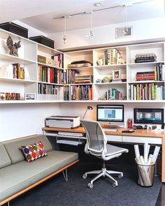 Case Study Daybed by Modernica in the small home office [Design: Patrick Brian J. - Case Study Daybed by Modernica in the small home office [Design: Patrick Brian Jones] - Home Office Setup, Home Office Space, Home Office Design, Office Ideas, Office Designs, Office Style, Office Storage, Small Office Design, Office Shelving