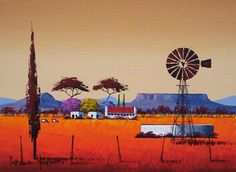south african windmill painting - Google Search Farm Paintings, Canvas Paintings, South African Artists, Simple Acrylic Paintings, Encaustic Art, Naive Art, Rock Art, Painting Inspiration, Lovers Art