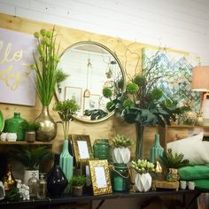 Green and gold visual merchandising. Shop display at Lavish Abode. Www.lavishabode.com.au