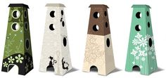 The Refined Feline has a new concept for a colorful cardboard cat climbing tower http://www.therefinedfeline.com/