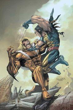 Wolverine vs Sabretooth by Salvador Larroca