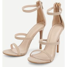 Stiletto Ankle Strap Sandals (125 RON) ❤ liked on Polyvore featuring shoes, sandals, party shoes, stiletto heel sandals, ankle strap stiletto sandal, stilettos shoes and going out shoes